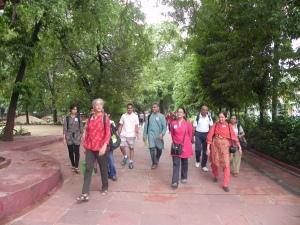 Walking on the beautiful ashram grounds