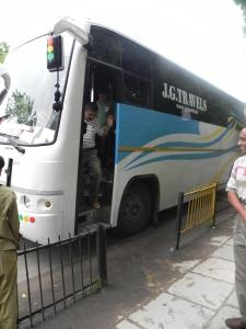 The bus has arrived at Sabarmati Ashram