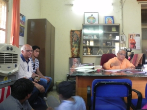 In the office of Rev. Swami Nikhileswaranandaji
