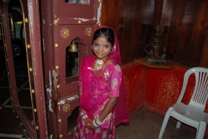 A girl in Rajashthani dress ready to do tilak