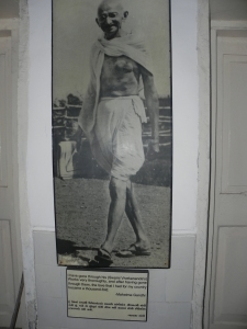 The famous picture of Mahatma Gandhi