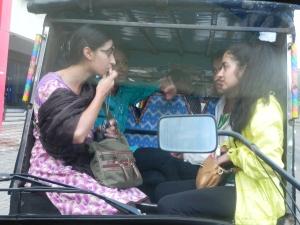 On the back of rikshaw