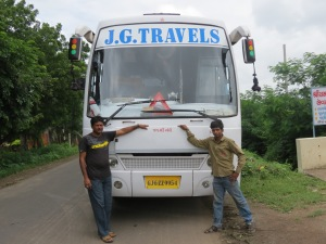 (From left to right) Driver Rafik and his helper Ketan