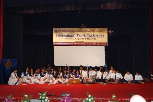Vivekananda Vidyapith students singing a bhajan & a dhoon