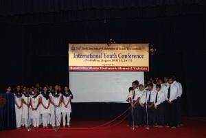 """Vidyapith students singing """"Arise! Awake!..."""""""