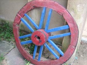 Entrance in Uttarayan Complex -2-wheel of a bullock cart