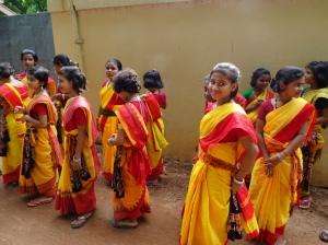 School Girls in Colorful Saris - 2