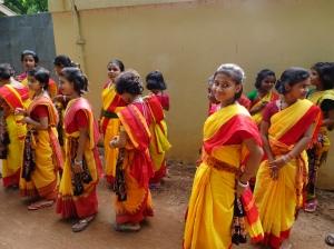 School Girls in Colorful Saris - 2